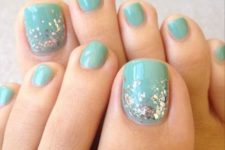 11 aquamint toe nails with a touch of glitter