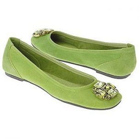 greenery suede embellished flats