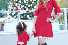 11 matching red dresses with a lace rim for a matching look