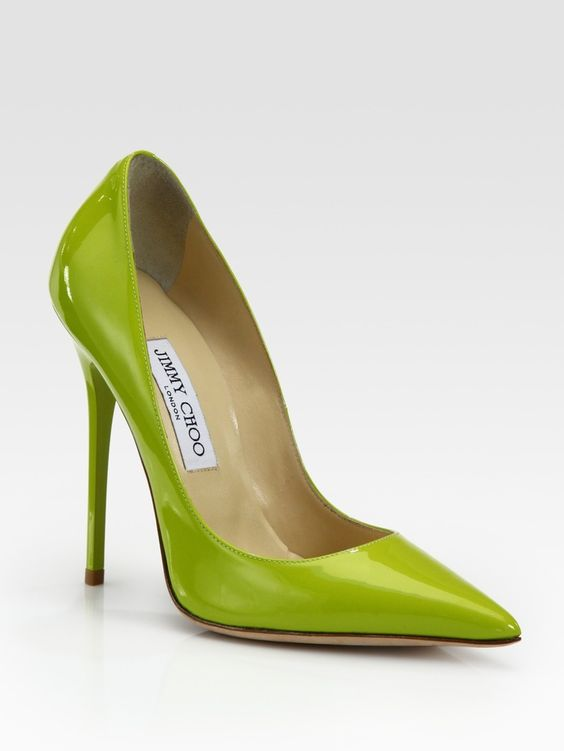 Jimmy Choo heels in greenery shade