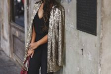 12 black jumpsuit with a sequin coat looks awesome