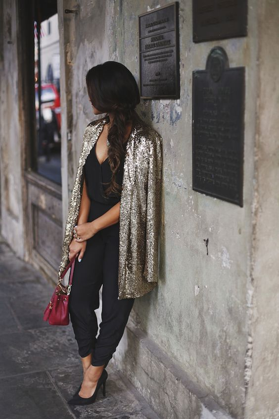 black jumpsuit with a sequin coat looks awesome