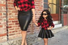 12 leather skirts, plaid shirts and black shoes