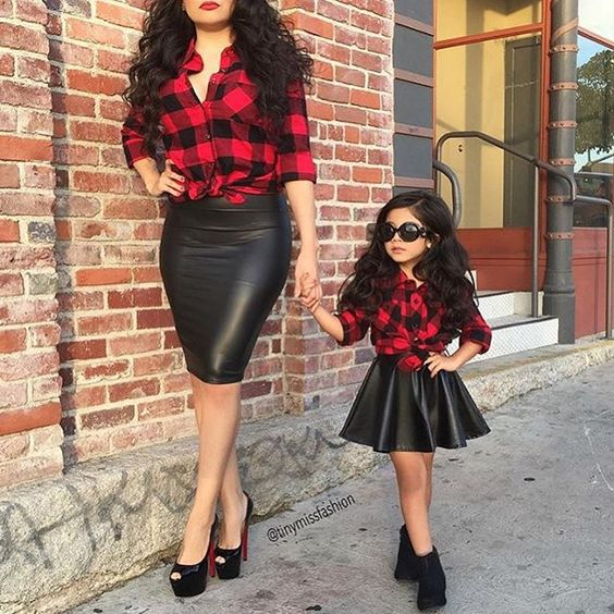 leather skirts, plaid shirts and black shoes