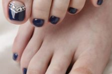 12 navy chevron nails with silver beads