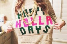 12 tacky Christmas sweater made with fabric letters