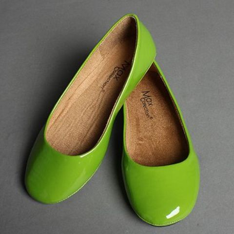 lime green glossy flats