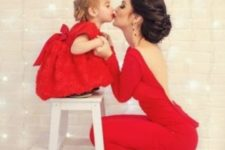 13 red dresses – a backless for the mom and a ball gown for the daughter