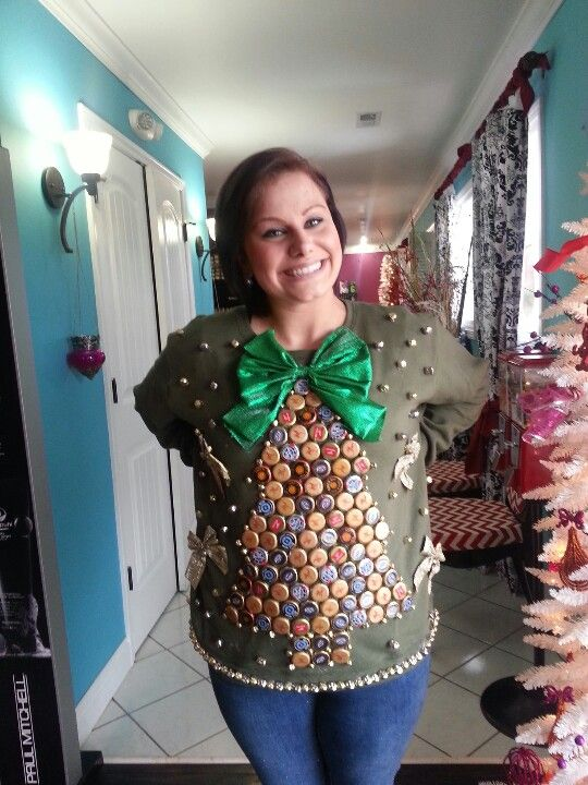 Ideas For Tacky Christmas Sweater Party Part - 43: Tacky Christmas Sweater Made With Beer Bottle Caps