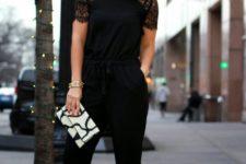 14 black lace shoulder jumpsuit