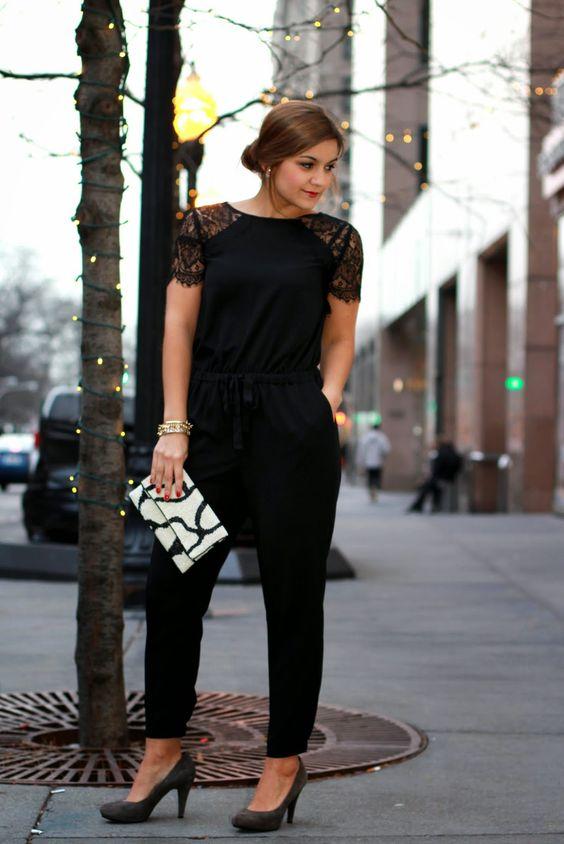 black lace shoulder jumpsuit