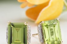 14 lime green stud earrings