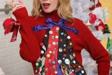 14 ugly sweater made with colorful ties and buttons