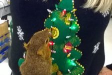 15 faux squirrel ugly sweater with a tree and lights