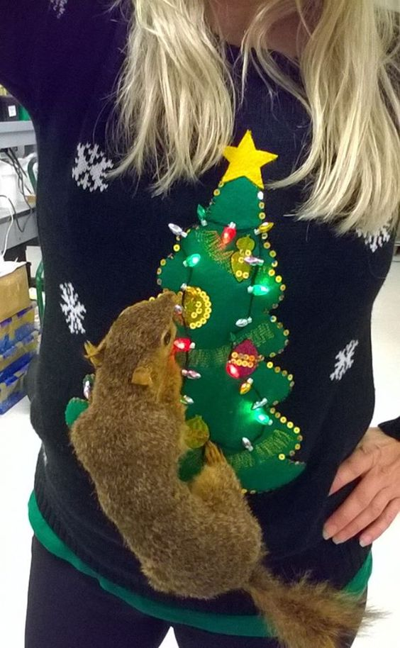 faux squirrel ugly sweater with a tree and lights