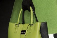 15 lime green tote with black sides