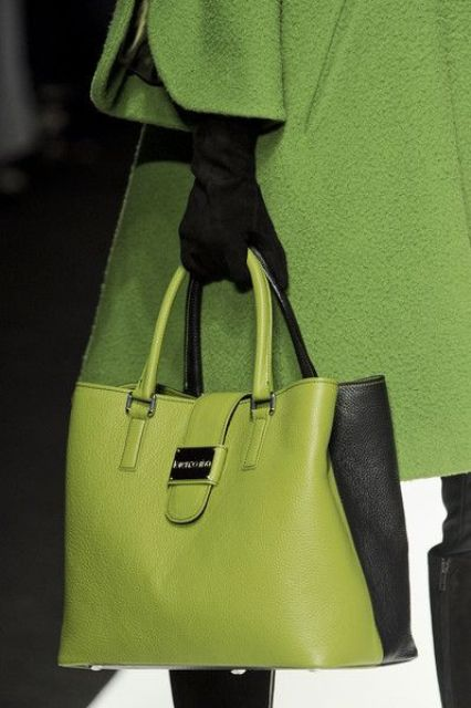 lime green tote with black sides