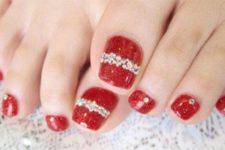 15 red pedicure with rhinestones