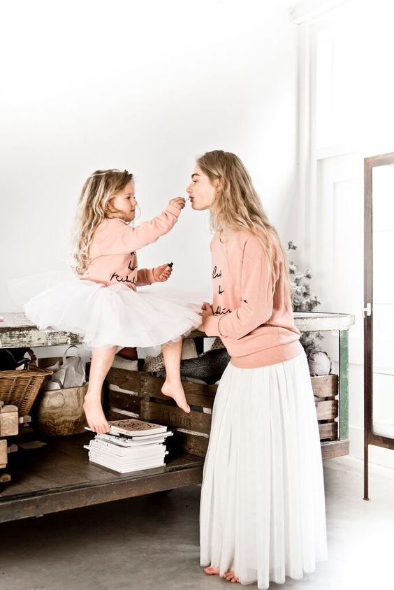 white tulle skirts, blush sweaters are amazing for girlish looks