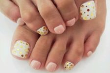 16 blush and white with gold polka dots