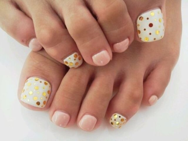 blush and white with gold polka dots