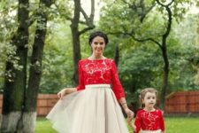 16 red lace tops and blush tulel skirts