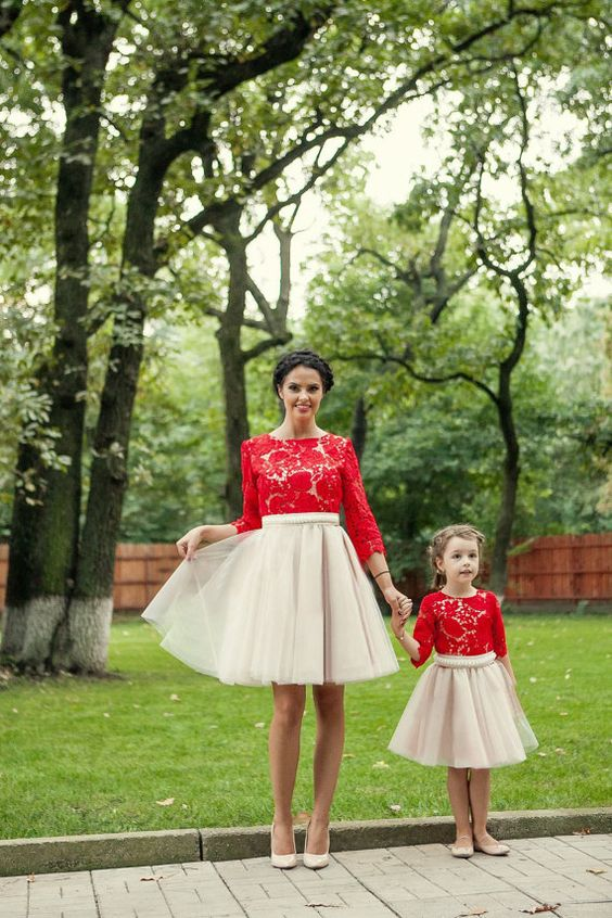 red lace tops and blush tulel skirts