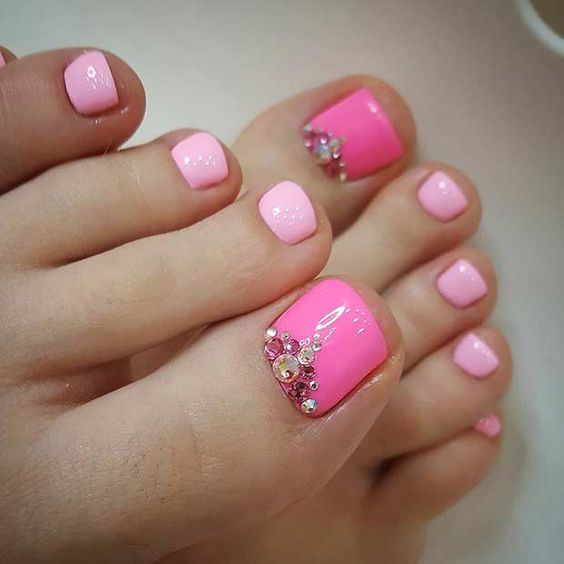fuchsia and pink pedicure with a touch of sparkle