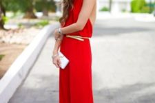 17 loose red halter neckline jumpsuit with a belt