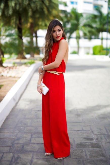 loose red halter neckline jumpsuit with a belt