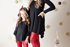18 black tunics, red sequin pants and shoes for the mom, black boots for the daughter
