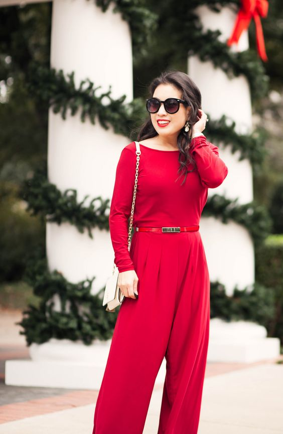 loose red jumpsuit with long sleeves