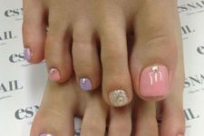 19 pastel nails with glitter and beads for a girlish look