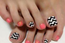 20 peach and black and white chevron toe nails