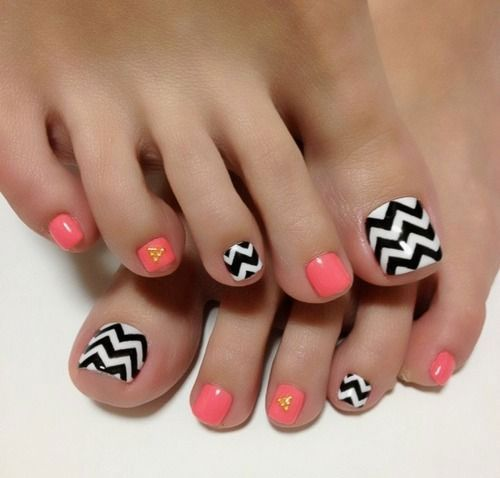 peach and black and white chevron toe nails