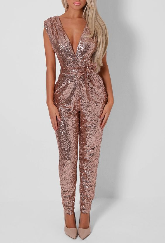 rose gold sequin jumpsuit with a plunging neckline is a perfect new year party outfit