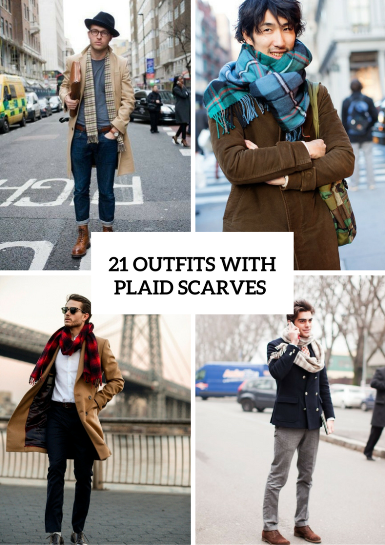 Winter Men Outfits With Plaid Scarves