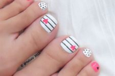 21 polka dot, striped nails and pink accents