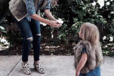21 ripped jeans, chambray shirts, fur vests and flats