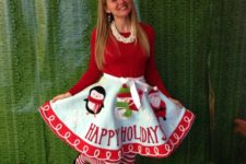 21 use a tree skirt as your own skirt and wear a plain sweater