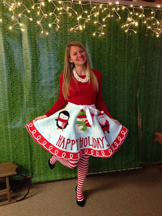 use a tree skirt as your own skirt and wear a plain sweater