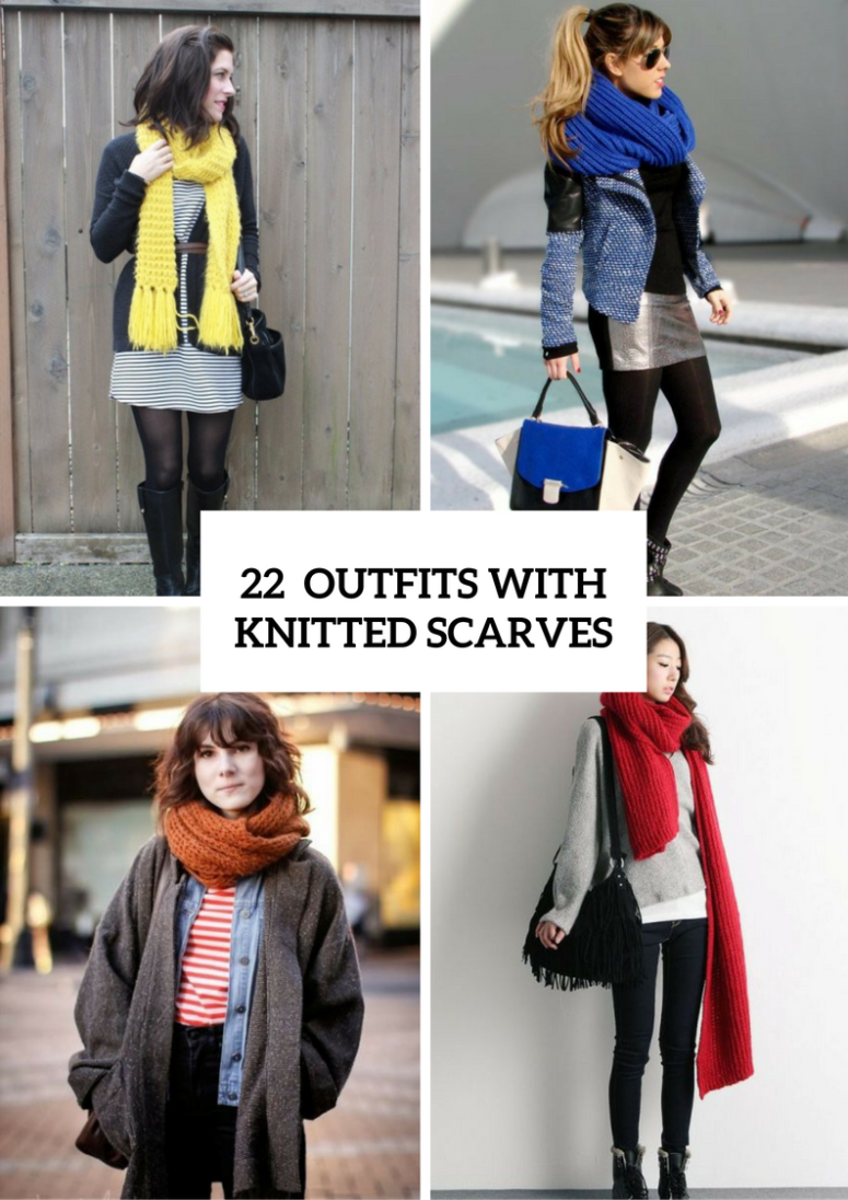 22 Cool Winter Outfits With Knitted Scarves