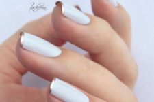 22 white French manicure with gold rim