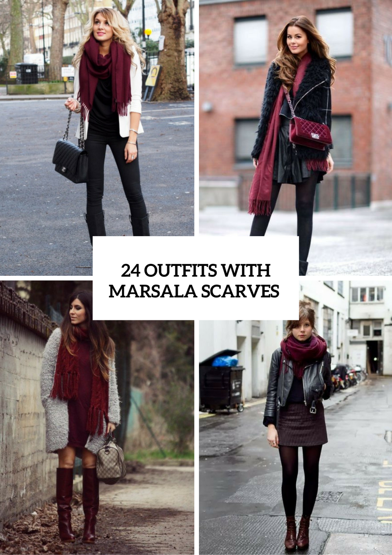 Outfits With Marsala Scarves For Ladies