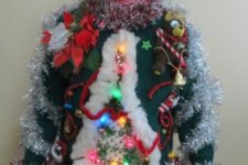 3D garland Christmas tree with ornaments and bells