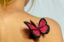 Red 3D butterfly on the right shoulder
