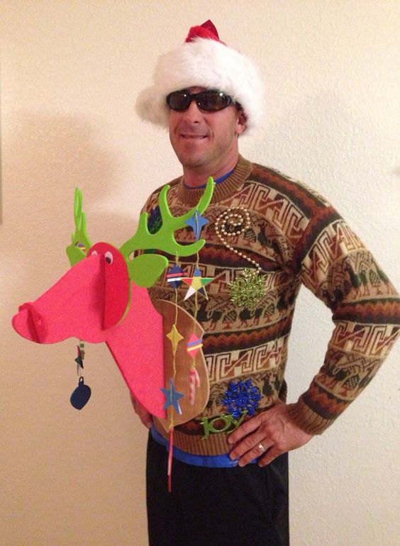 ugly sweater with a pink reindeer - Best Ugly Christmas Sweater Ideas