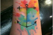 Anchor with red, orange, yellow, green and blue colors