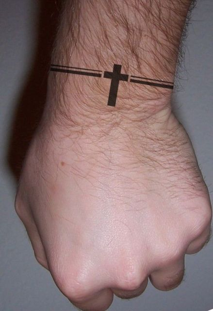Black cross tattoo idea