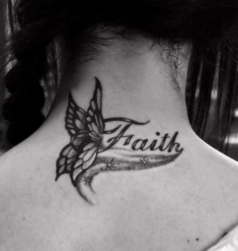 Butterfly with faith tattoo on the neck